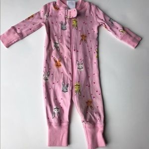 Hannah Andersson pink bunny one piece sleeper NB